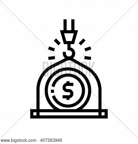 Weight Of Money Wealth Line Icon Vector. Weight Of Money Wealth Sign. Isolated Contour Symbol Black