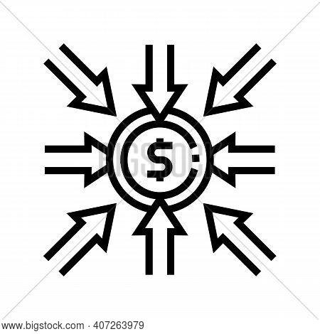 Income Money Line Icon Vector. Income Money Sign. Isolated Contour Symbol Black Illustration