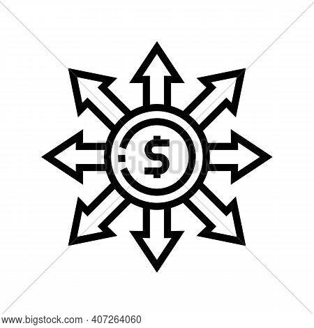 Consumption Money Line Icon Vector. Consumption Money Sign. Isolated Contour Symbol Black Illustrati