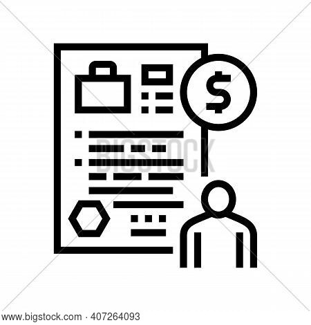 Unemployment Benefit Allowance Line Icon Vector. Unemployment Benefit Allowance Sign. Isolated Conto