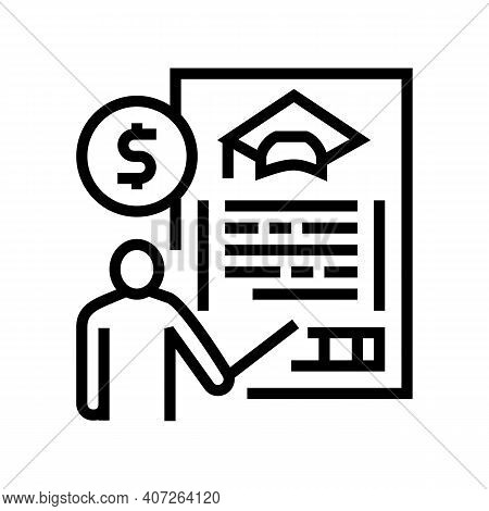 For Education Allowance Line Icon Vector. For Education Allowance Sign. Isolated Contour Symbol Blac