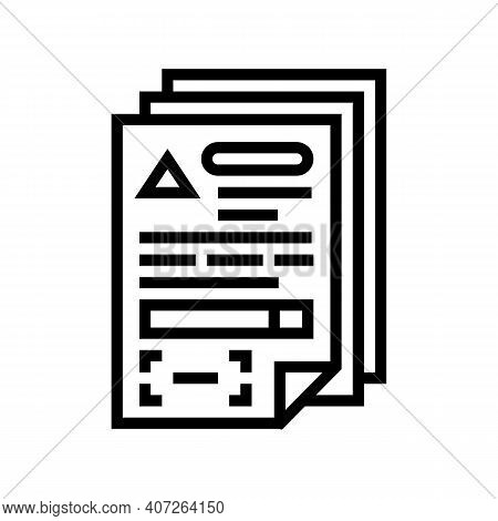 Documents For Allowance Line Icon Vector. Documents For Allowance Sign. Isolated Contour Symbol Blac