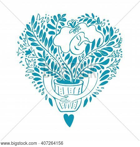 Spring Mood Doodle With Woman Hugging Favorite Houseplants In Flower Pot Isolated On White Concept O