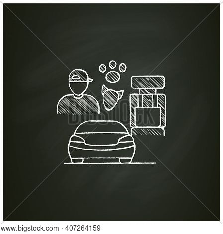 Dog Car Seat Chalk Icon. Help Small Dogs See Out Window While Staying Restrained In Back Seat. Prote