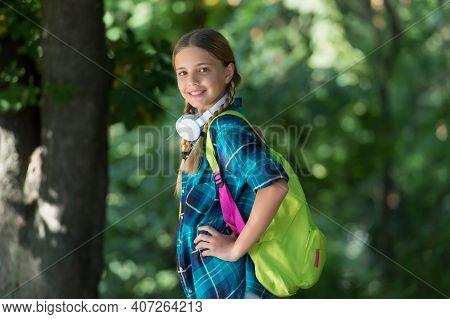 Lets Go Travel. Cute Girl Carry Travel Bag Natural Landscape. Educational Trip. Tourism Education. S
