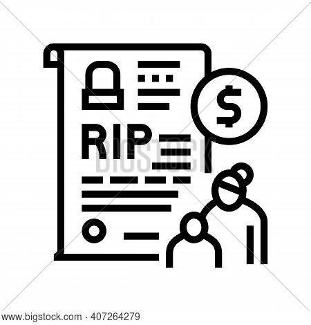 Loss Of Breadwinner Allowance Line Icon Vector. Loss Of Breadwinner Allowance Sign. Isolated Contour