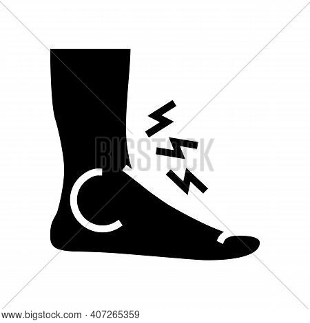 Foot Gout Pain Symptom Glyph Icon Vector. Foot Gout Pain Symptom Sign. Isolated Contour Symbol Black