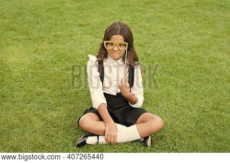 Stay Focused. Unhappy Girl Wear Prop Glasses. Beauty Look Of Fashion Model. Little Child Wear School