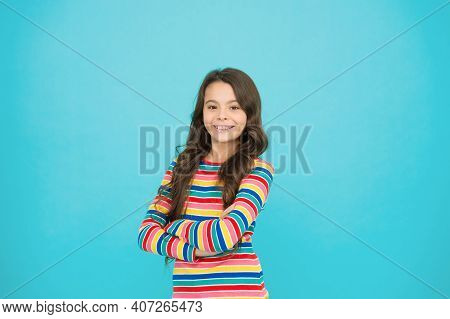 Happy Child. Happy Childrens Day. Childhood Concept. Little Girl Turquoise Background. Shopping Day.