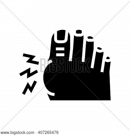 Pain In Big Toe Glyph Icon Vector. Pain In Big Toe Sign. Isolated Contour Symbol Black Illustration