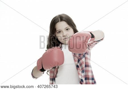 Girl Power Concept. Kid Boxing Gloves Isolated White. Child Boxer Defend Herself. Sport Activity. Bo