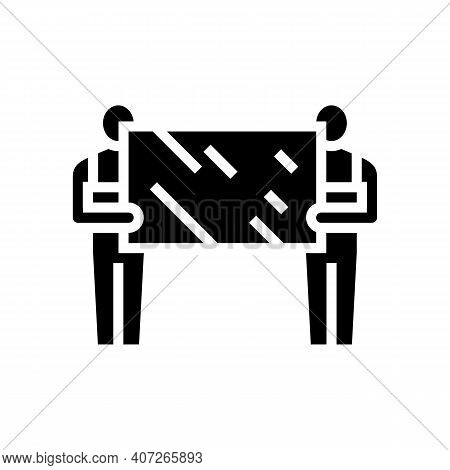 Installers Holding Mirror Glyph Icon Vector. Installers Holding Mirror Sign. Isolated Contour Symbol