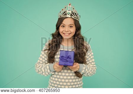 Kid In Princess Crown. Happy Birthday Daughter. Birthday Princess. Kid Silver Crown Symbol Of Glory.