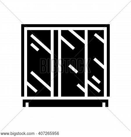 Wardrobe Mirror Glyph Icon Vector. Wardrobe Mirror Sign. Isolated Contour Symbol Black Illustration