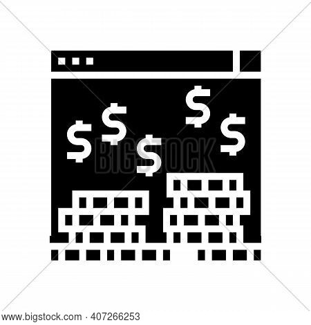 Earning Money In Internet Glyph Icon Vector. Earning Money In Internet Sign. Isolated Contour Symbol