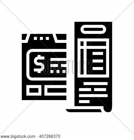 Budget Calculating Glyph Icon Vector. Budget Calculating Sign. Isolated Contour Symbol Black Illustr
