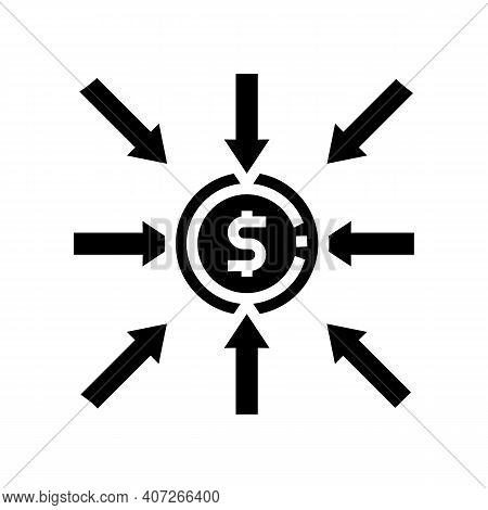 Income Money Glyph Icon Vector. Income Money Sign. Isolated Contour Symbol Black Illustration