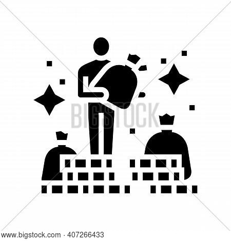 Human Financial Wealth Glyph Icon Vector. Human Financial Wealth Sign. Isolated Contour Symbol Black