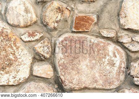 Close-up Gray Stone Wall, Cobblestone Masonry, Brown Stone Background, Cobblestone Pattern