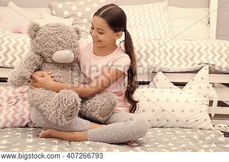 Free Hugs. Happy Kid Cuddle Teddy Bear. Small Kid Enjoy Playing With Toy. Little Kid With Cute Smile