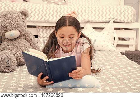 Book About Love. Favorite Fairy Tale. Once Upon A Time. Girl Child In Bed Read Book With Teddy Bear