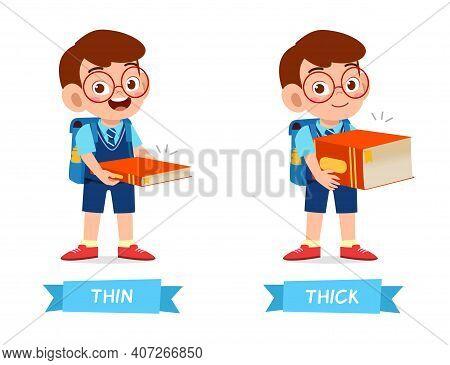 Cute Example Of Opposite Word Antonym For Kid