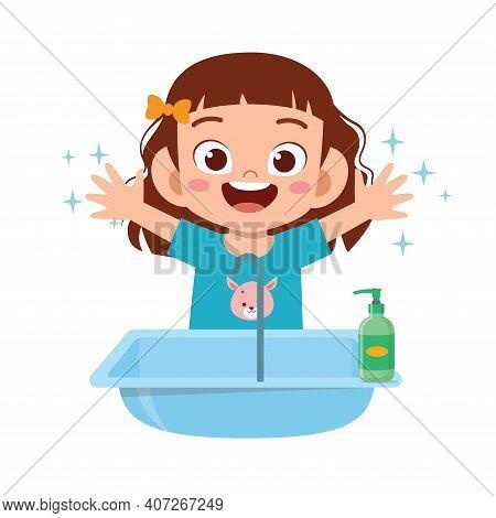 Happy Cute Little Kid Girl Wash Hand In Sink