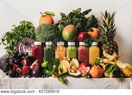 Various Fresh Smoothies For Detox Weight Loss Diet Program. Colorful Juices In Vacuum Bottles With F