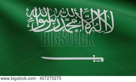 Kingdom Saudi Arabia Flag Waving In The Wind. Close Up Of Ksa Banner Blowing