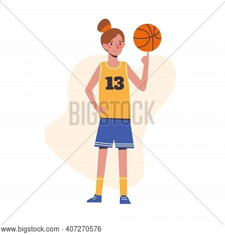 The Girl Plays Basketball. Flat Design Concept Of A Beautiful Child Spinning A Ball On His Finger. V