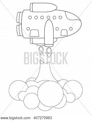 The Starship Takes Off In A Cloud Of Dust. Spaceship - Vector Linear Picture For Coloring. Spaceship