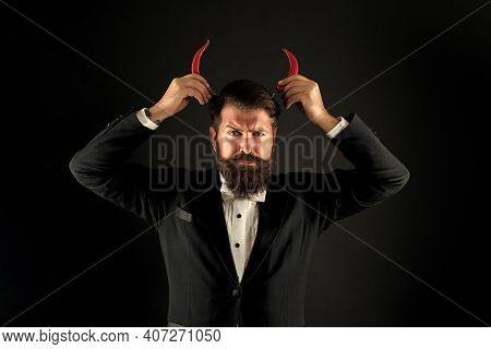 Extra Strong. Pepper Harvest Industry. Peppery Man With Devil Horns. Happy Bearded Businessman Has P