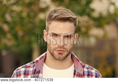 Good Looking Guy. Spring Fashion For Men. Guy With Stylish Haircut. Facial Care. Charismatic Fashion