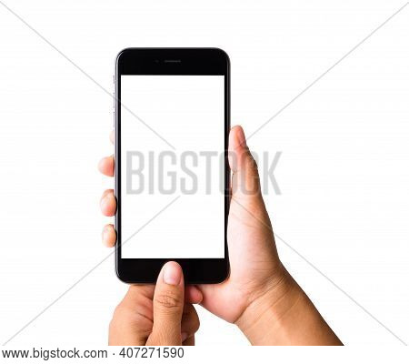 Woman Hand Holding Mockup Smartphone Blank White Screen. Female Touch Home Button On Modern Mobile P