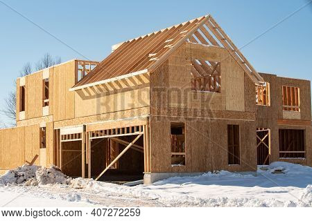 Rafters And Walls Of A Plywood House New