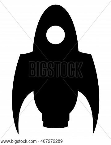 Silhouette Of A Rocket Taking Off Vertically. Rocket, Spaceship - Vector Silhouette Illustration For
