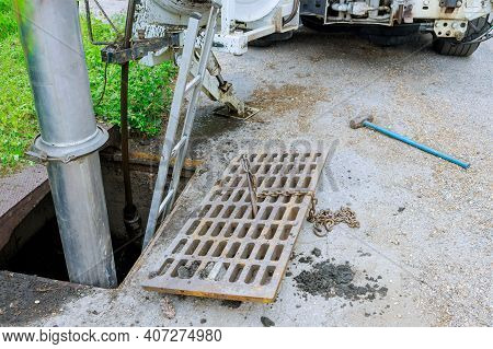 Sewage Industrial Cleaning Truck Clean Blockage In A Sewer Line Machine From The Inside.