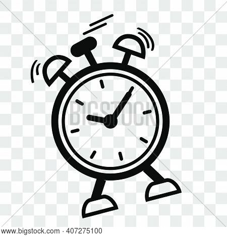 Simple Vector Icon, Shaking Alarm Clock, At Transparent Effect Background
