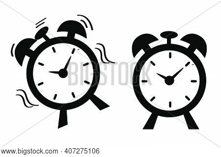 Simple Vector Icon, 2 Alarm Clock, Shocking Waving And Still Alarm Clock