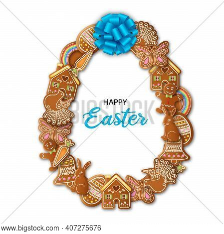Happy Easter Background Egg Shaped Frame With Gingerbread Cookies