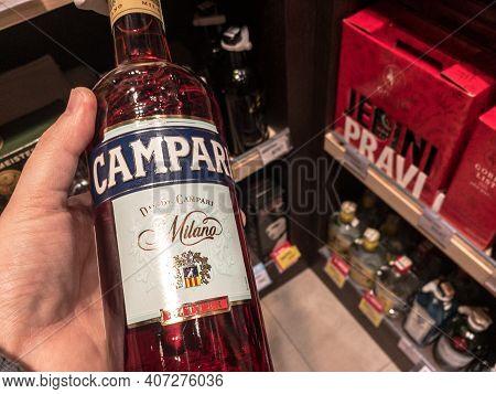 Belgrade, Serbia - February 1, 2021: Campari Logo On Some Bottles For Sale. Campari Is A Bitter Alco