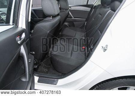 Novosibirsk, Russia - February 07 2021: Mazda 3, Comfort Car Inside. Clean Car Interior: Black Back
