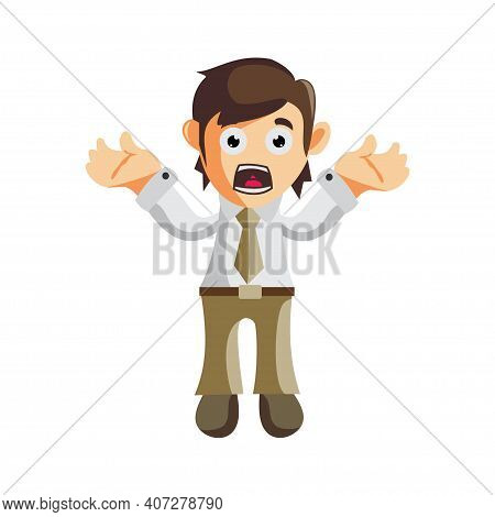 Business Man Confused Gesture Cartoon Character Illustration Design Creation Isolated