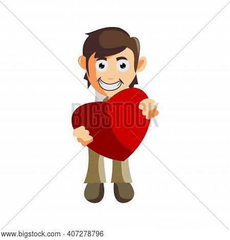 Business Man Bring Love Symbol Cartoon Character Illustration Design Creation Isolated
