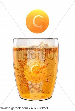 Effervescent Soluble Vitamin C Tablets In Glass Beaker With Liquid And Bubbles. Food Supplement Conc