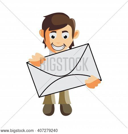 Business Man Bring Mail Cartoon Character Illustration Design Creation Isolated