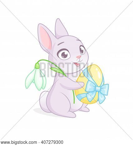 Cute Bunny Holding Egg And Snowdrop Flower. Easter Greeting Cartoon Vector Illustration On White Bac