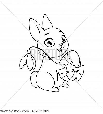 Cute Bunny Holding Egg And Snowdrop Flower. Easter Greeting Cartoon Vector Coloring Page.