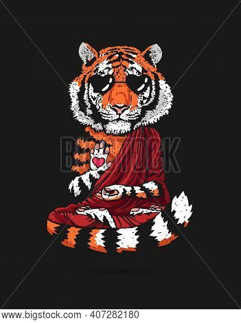 Tiger - Buddha - A Monk. Buddhist In A Burgundy Robe. A Tiger In A Lotus Position Soars Above The Gr