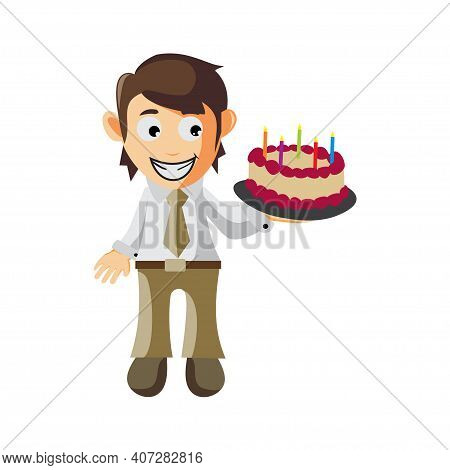 Business Man Bring Cake Birthday Cartoon Character Illustration Design Creation Isolated